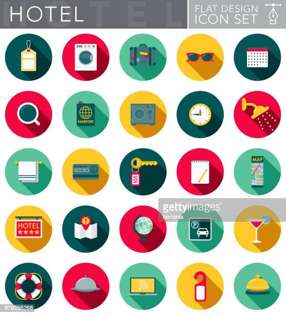 Hotel & Hospitality Flat Design Icon Set with Side Shadow