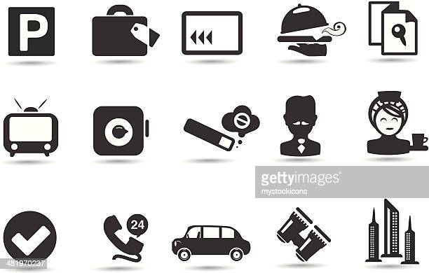 hotel icon set - cardkey stock illustrations, clip art, cartoons, & icons