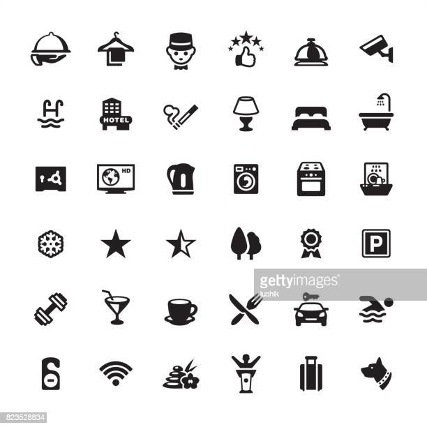 hotel icon set - hotel reception stock illustrations, clip art, cartoons, & icons
