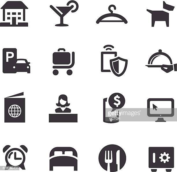 hotel icons - acme series - hotel reception stock illustrations, clip art, cartoons, & icons