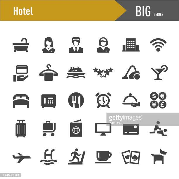 hotel icons - big series - business travel stock illustrations