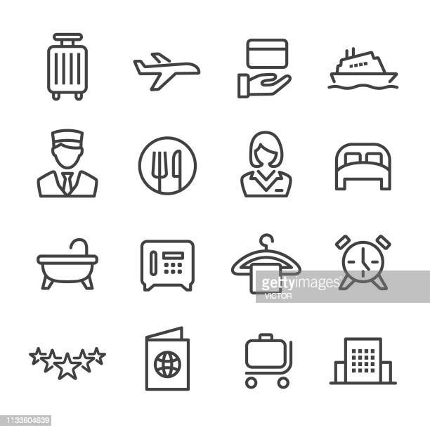 hotel icons-line series - bartresen stock-grafiken, -clipart, -cartoons und -symbole