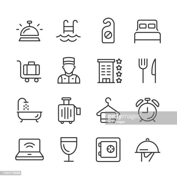illustrazioni stock, clip art, cartoni animati e icone di tendenza di icone dell'hotel — serie monoline - albergo
