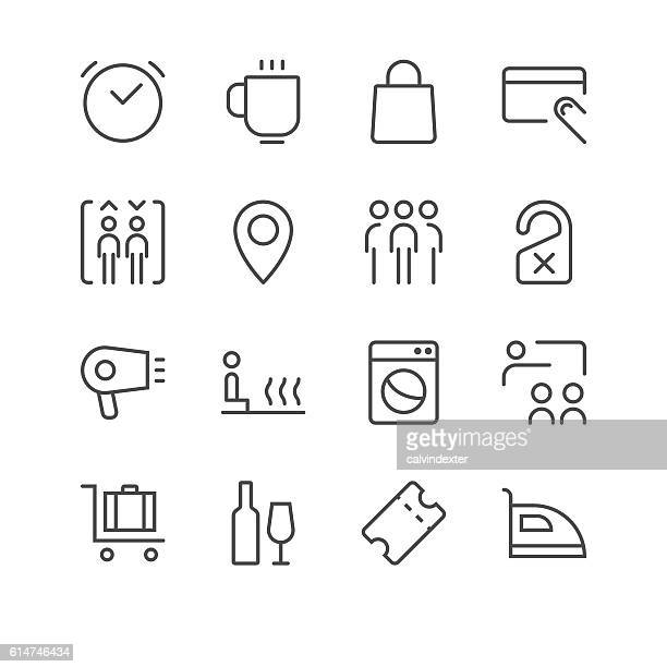 hotel icons set 2 | black line series - elevator stock illustrations, clip art, cartoons, & icons