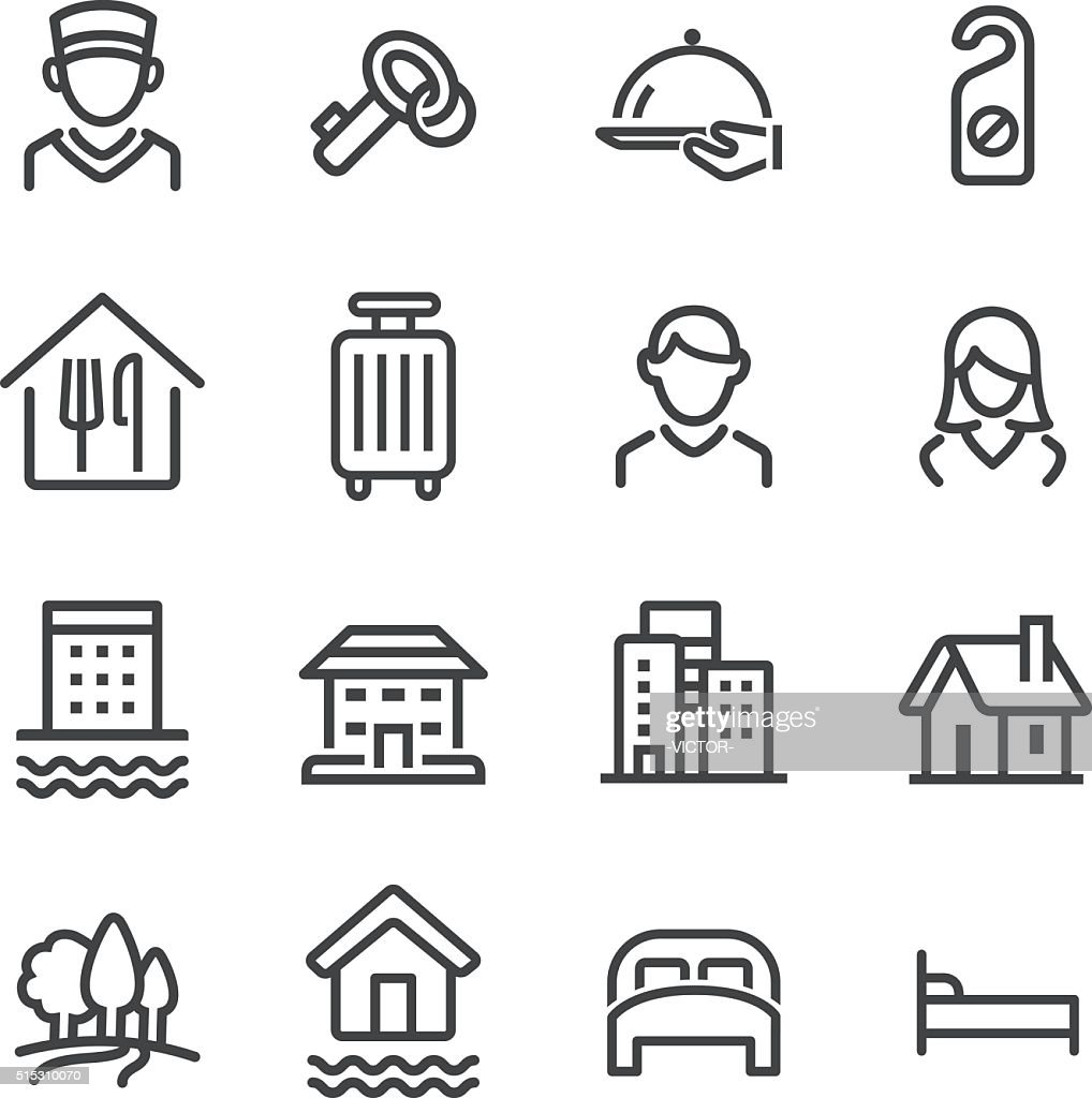 Hotel Icons Set - Line Series : stock illustration