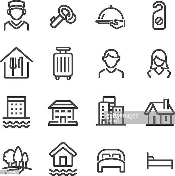 hotel icons set - line series - hotel reception stock illustrations, clip art, cartoons, & icons