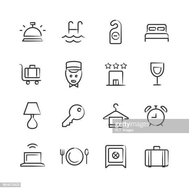 hotel icons — sketchy series - hotel reception stock illustrations, clip art, cartoons, & icons