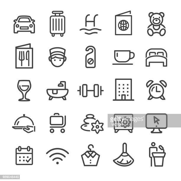 hotel icons - smart line series - bedroom stock illustrations, clip art, cartoons, & icons