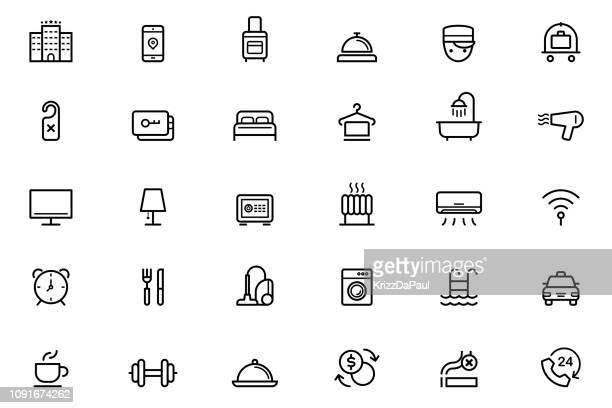 stockillustraties, clipart, cartoons en iconen met hotel pictogrammen - verblijfsoord