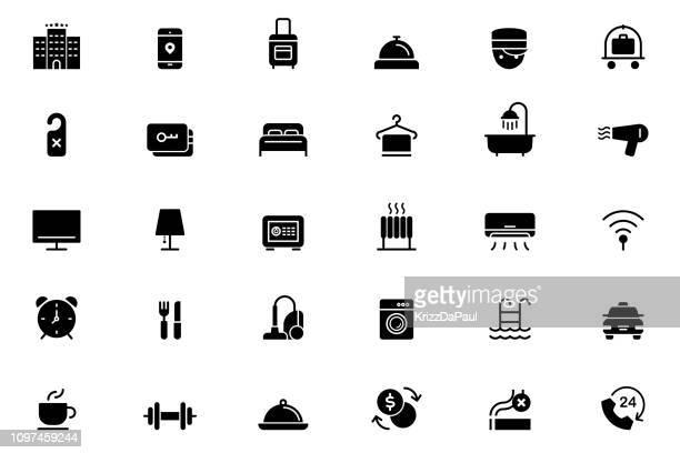 hotel icons - hotel stock illustrations