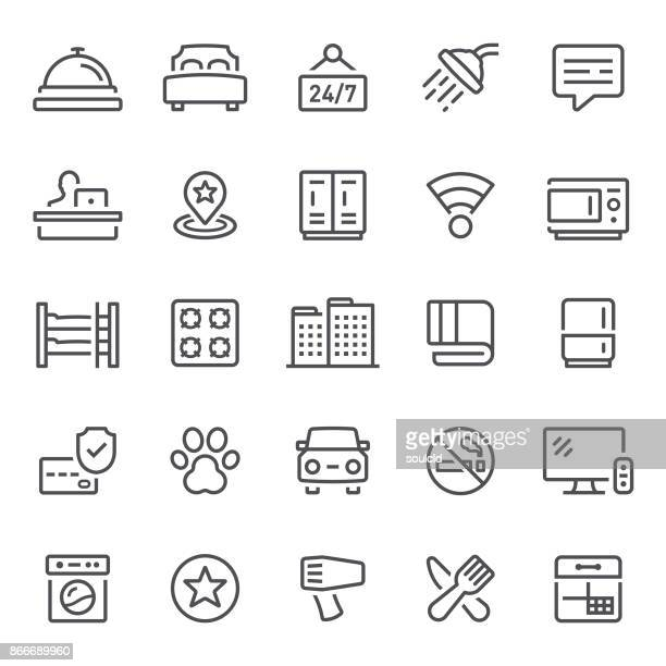 hotel icons - hotel reception stock illustrations, clip art, cartoons, & icons