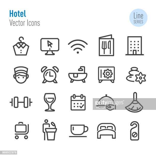 ilustraciones, imágenes clip art, dibujos animados e iconos de stock de hotel iconos - vector línea serie - habitación