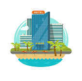 Hotel isolated near sea or seafront resort view vector illustration, flat cartoon modern eco hotel building on green grass, beach and promenade or street clipart