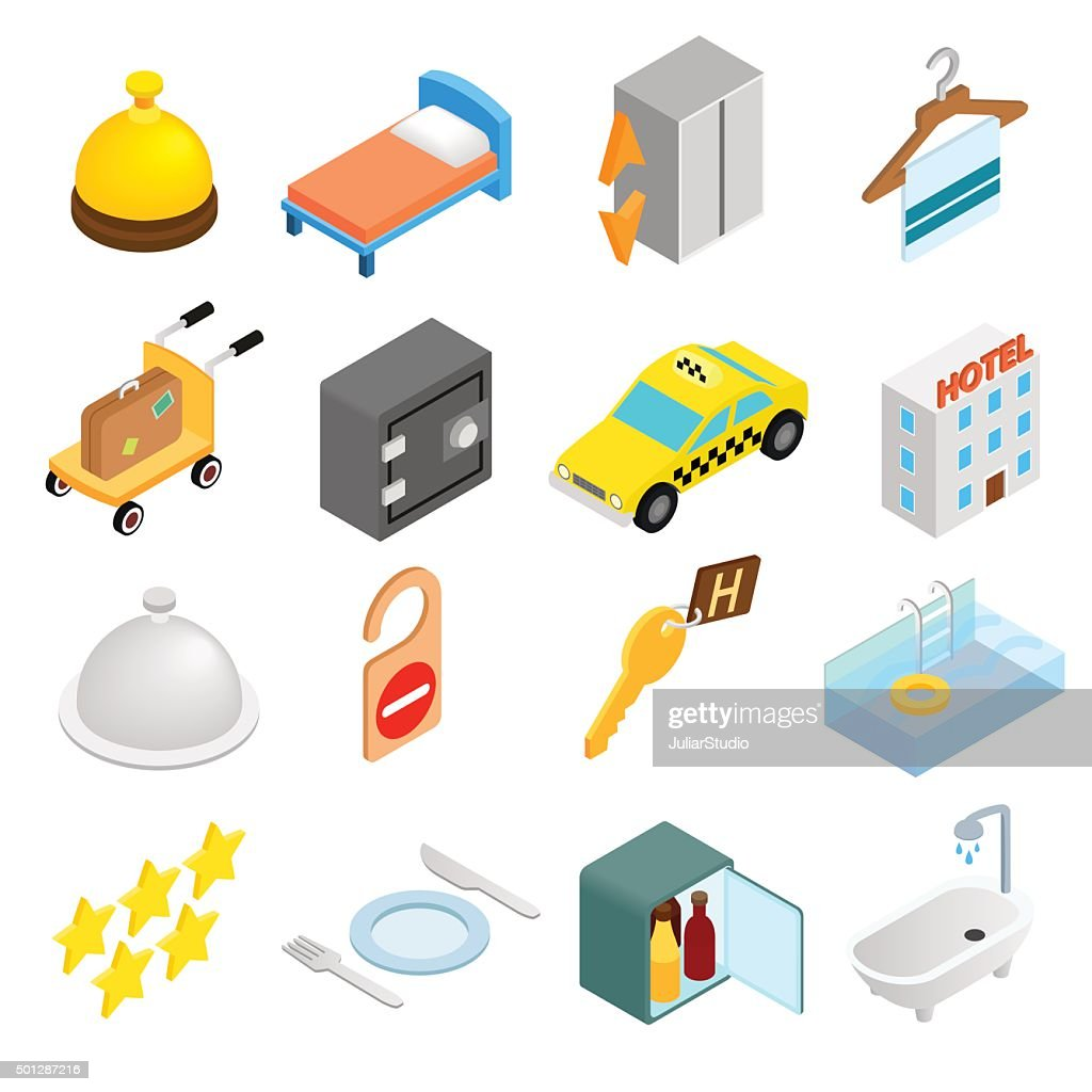 Hotel isometric 3d icons set