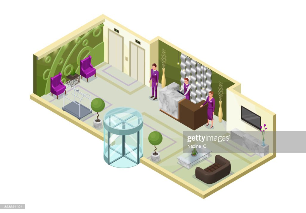 Hotel isometric 3d illustration with people, lobby, reception desk, marble furniture, trendy interior design, inside room view
