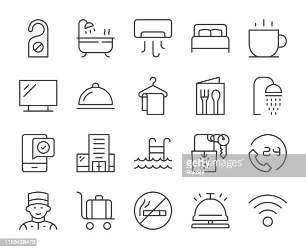 hotel - light line icons - cardkey stock illustrations, clip art, cartoons, & icons