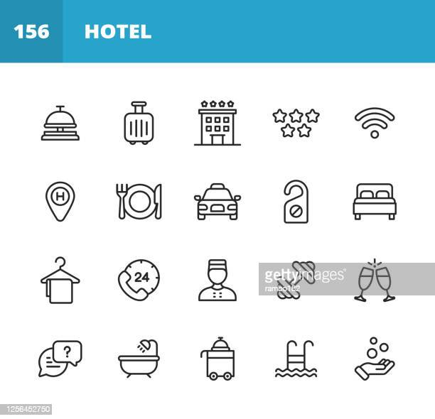 illustrazioni stock, clip art, cartoni animati e icone di tendenza di icone della linea dell'hotel. tratto modificabile. pixel perfetto. per dispositivi mobili e web. contiene icone come hotel, servizio, lusso, reception dell'hotel, taxi, ristorante, letto, asciugamano, supporto, piscina, bagno, posizione, spiaggia, chiave,  - albergo
