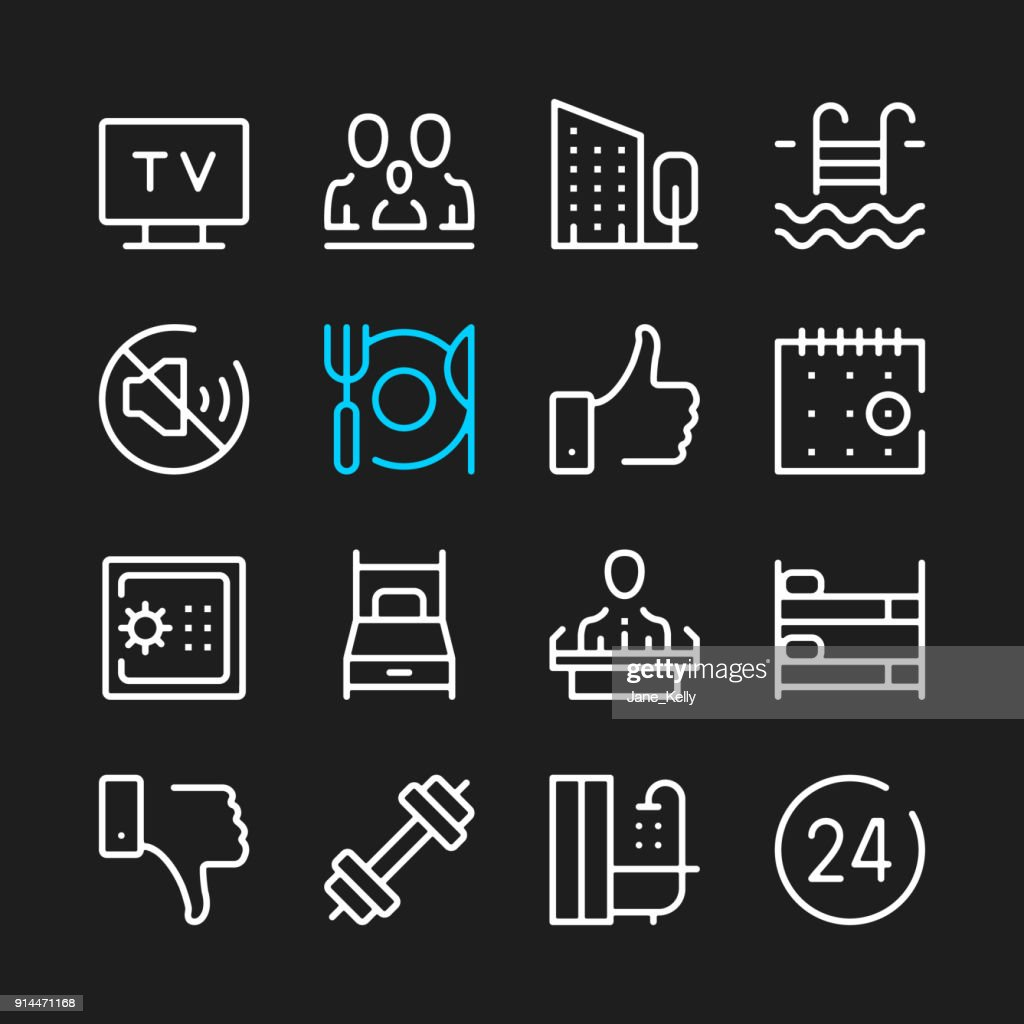 Hotel line icons. Hotel services, hotel facilities concepts. Modern graphic elements, minimal simple outline stroke thin line design symbols. Vector icons set
