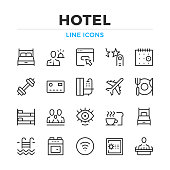 Hotel line icons set. Hotel amenities, hotel facilities. Modern outline elements, graphic design concepts. Stroke, linear style. Simple symbols collection. Vector line icons