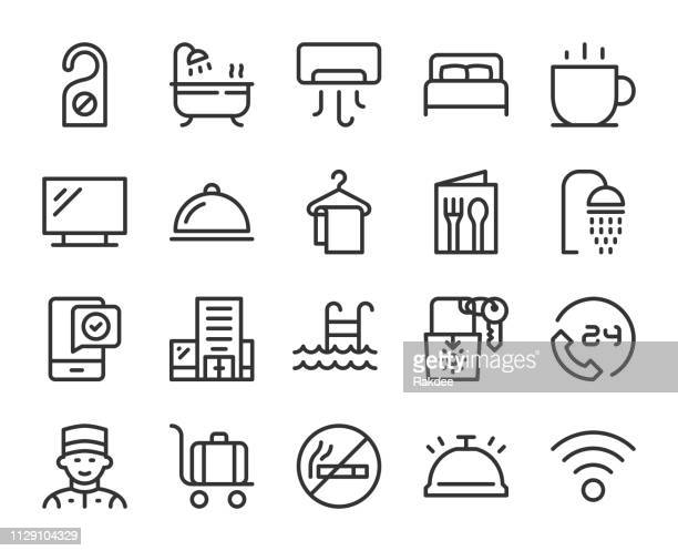hotel - line icons - hotel stock illustrations