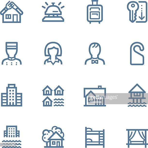hotel line icons - hut stock illustrations