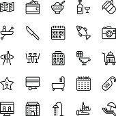 Hotel Line Vector Icons 6