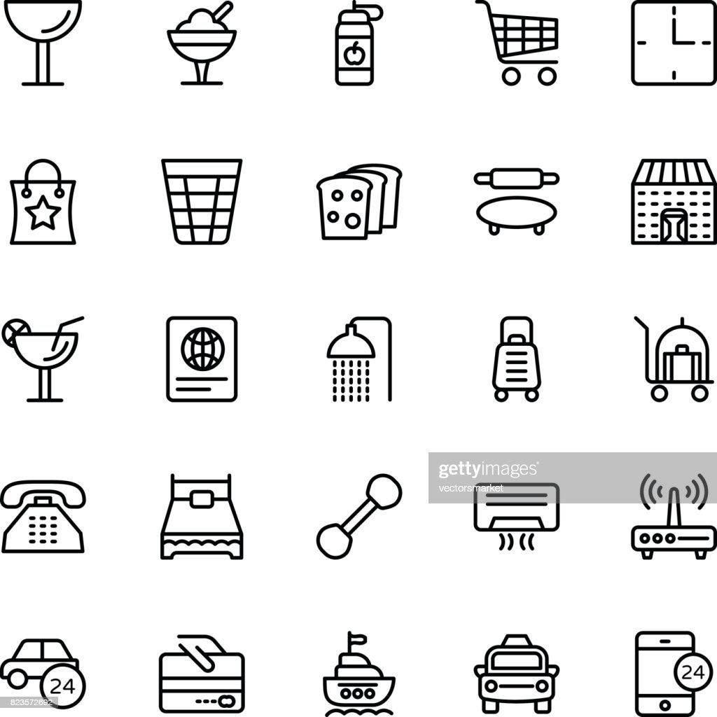 Hotel Line Vector Icons 8