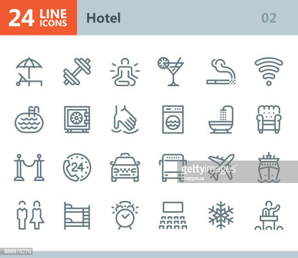 hotel - line vector icons - taxi stock illustrations, clip art, cartoons, & icons