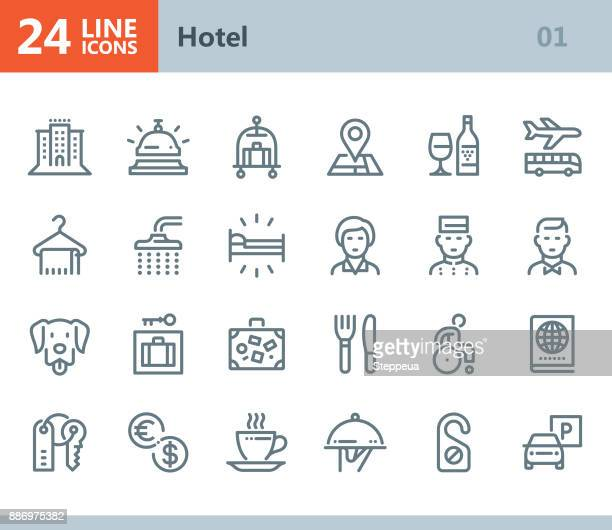 hotel - line vector icons - parking sign stock illustrations