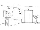 Hotel lobby reception black white graphic interior sketch illustration vector