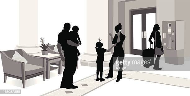 hotel lobby vector silhouette - hotel reception stock illustrations, clip art, cartoons, & icons