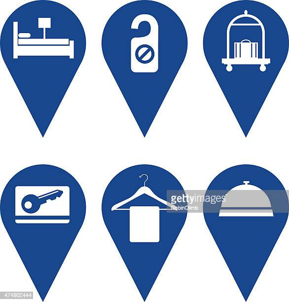 hotel map pointers - cardkey stock illustrations, clip art, cartoons, & icons