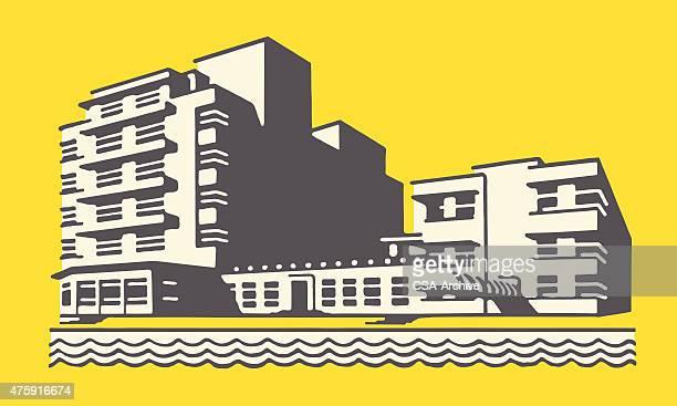 hotel on beach - tourist resort stock illustrations, clip art, cartoons, & icons