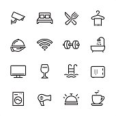 Hotel - outline icon set