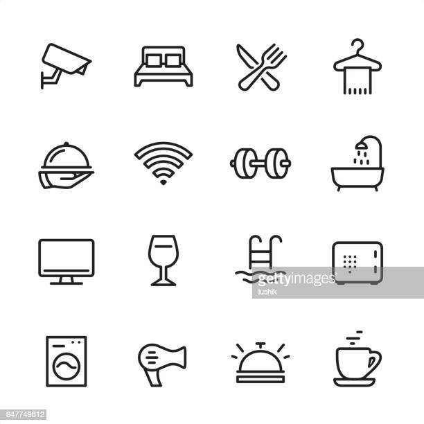 hotel - outline icon set - security camera stock illustrations
