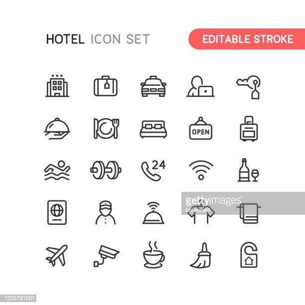 illustrazioni stock, clip art, cartoni animati e icone di tendenza di icone struttura hotel tratto modificabile - albergo