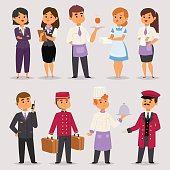 Hotel professions people workers receptionist standing at hotel counter characters in uniform vector illustration