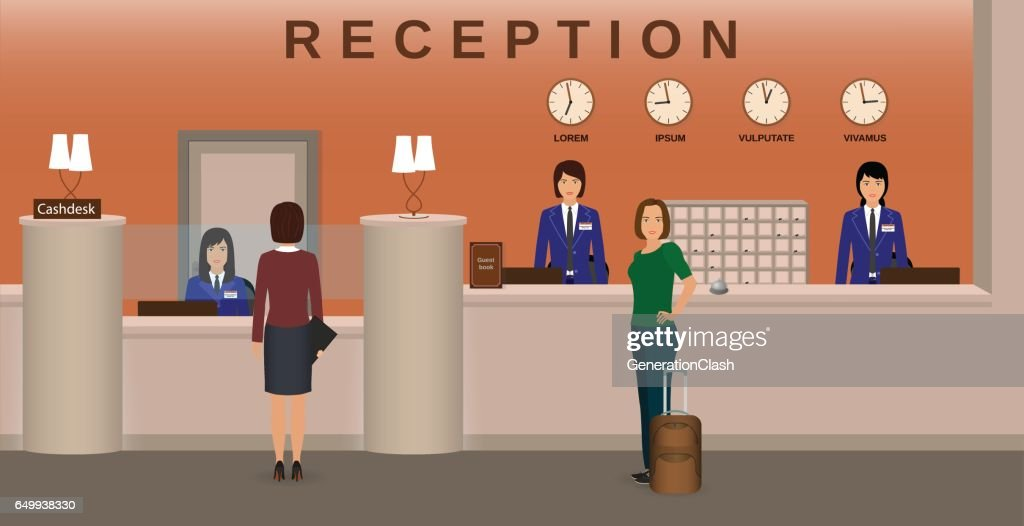Hotel reception interior with employee and guests. Concierge desk and cashbox. Resort welcoming concept.