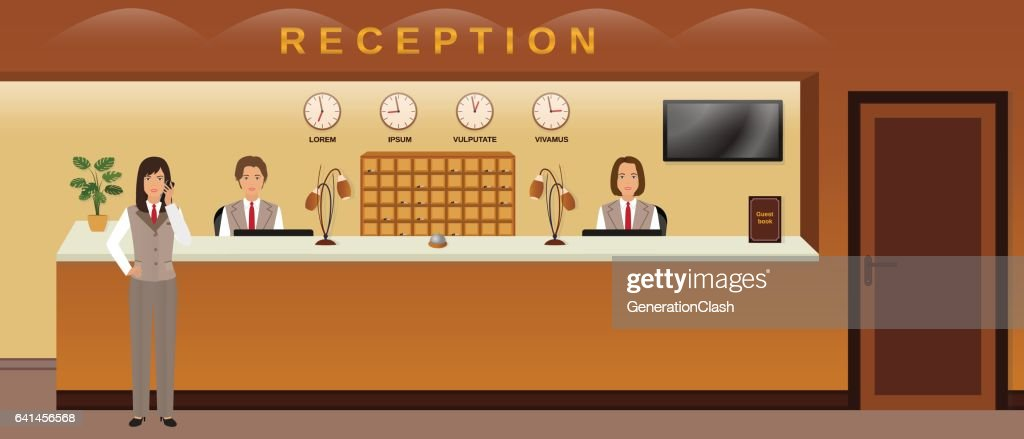 Hotel reception service. Three hotel employees welcome guests. Business office receptionists.