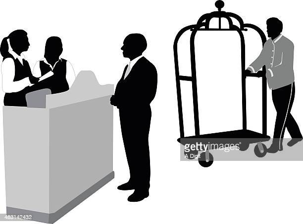 hotel reception - checkout stock illustrations, clip art, cartoons, & icons