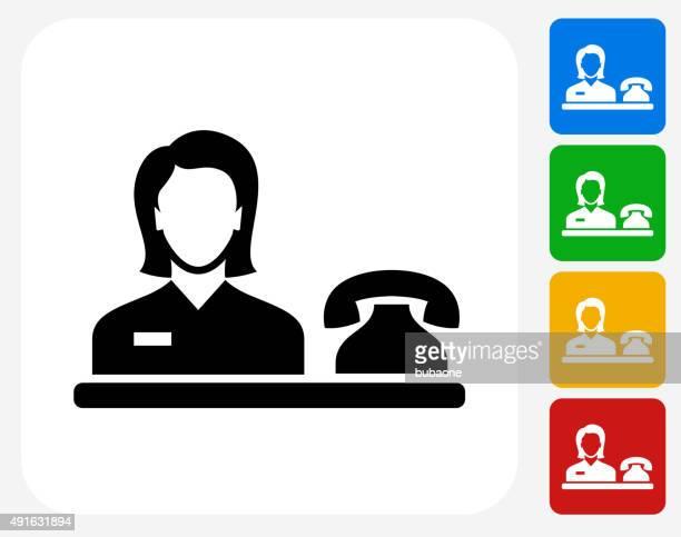 Hotel Receptionist Icon Flat Graphic Design