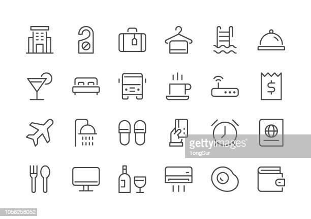 ホテル - 規則的なライン アイコン - 観光客点のイラスト素材/クリップアート素材/マンガ素材/アイコン素材
