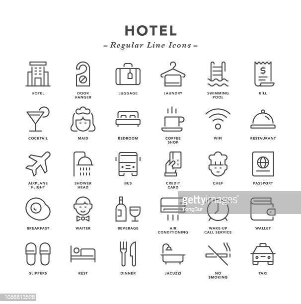 hotel - regular line icons - hotel stock illustrations