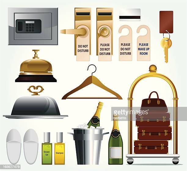 hotel related icon set - toiletries stock illustrations