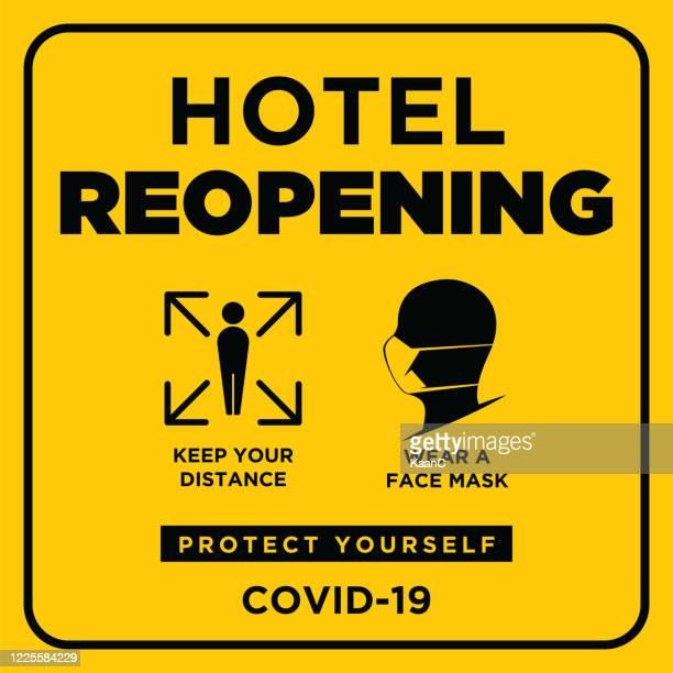hotel reopening. wuhan coronavirus outbreak influenza as dangerous flu strain cases as a pandemic concept banner flat style illustration stock illustration - reopening stock illustrations