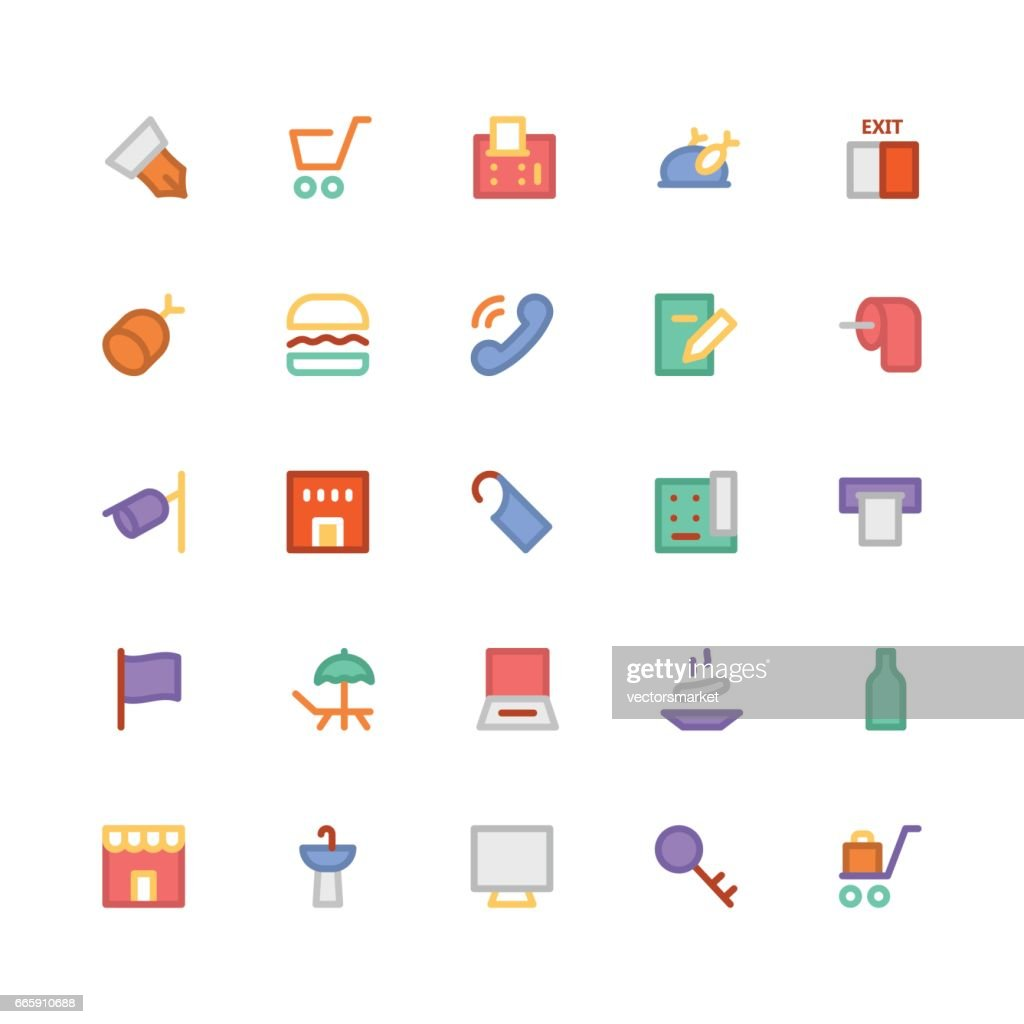Hotel & Restaurant Colored Vector Icons 2