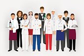 Hotel restaurant team concept in uniform. Group of catering characters standing together chef, cook, waiters and barman.