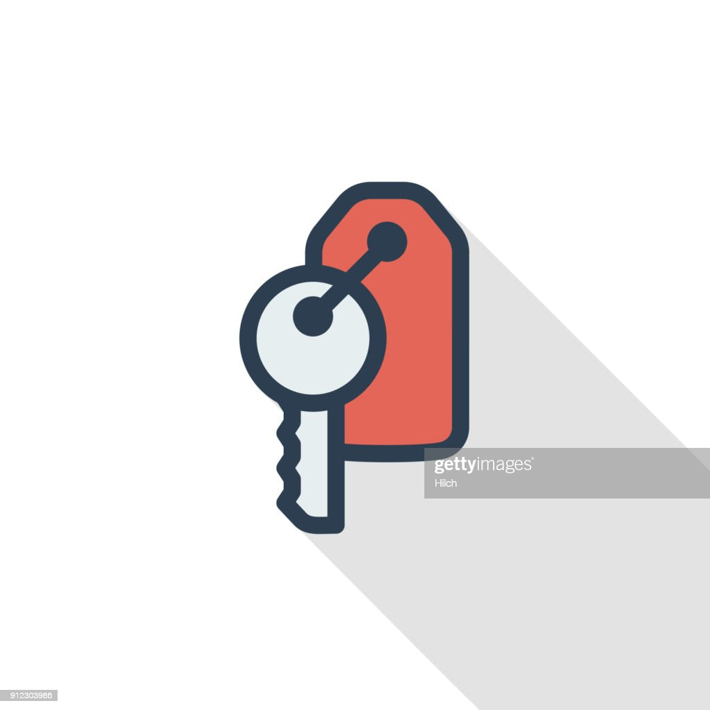 Hotel room key thin line flat color icon. Linear vector symbol. Colorful long shadow design.