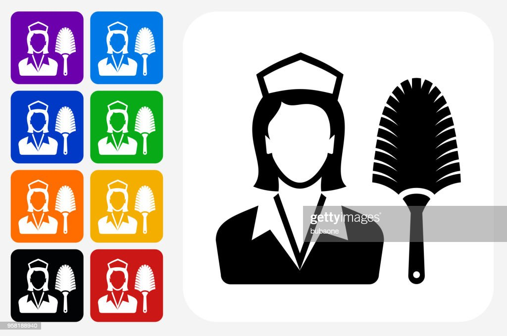 Hotel Room Service Icon Square Button Set High Res Vector Graphic Getty Images