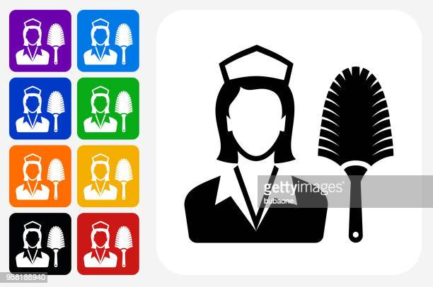 hotel room service icon square button set - maid stock illustrations, clip art, cartoons, & icons
